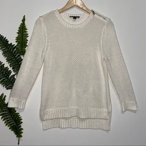 Ann Taylor Knit Cream Sailor 3/4 Sweater Medium